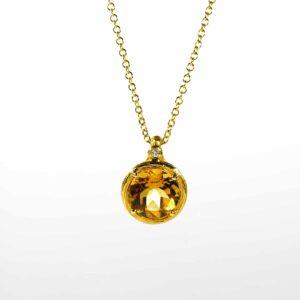 שרשרת זהב לבן 14 קראט משובצת אבן חן סיטרין