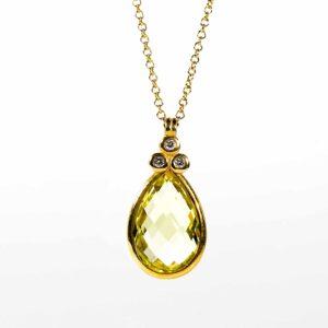שרשרת אבן למון קוורץ ,זהב-לבן 14 קראט, משובצת יהלומים
